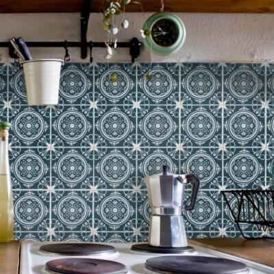 Fliesenaufkleber für Bad Deko u. Küche - Azulejo-Portugiesisch-Dunkelblau