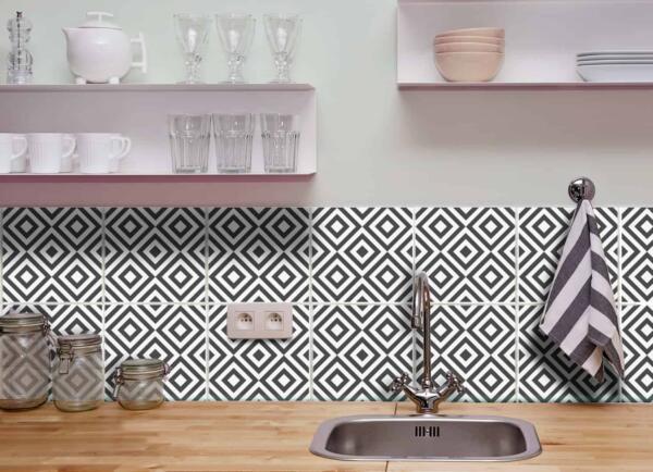 Fliesenaufkleber für Bad Deko u. Küche - Rauten