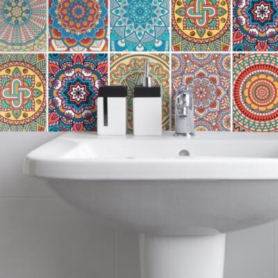 Fliesenaufkleber für Bad Deko u. Küche - Mandala Bunt