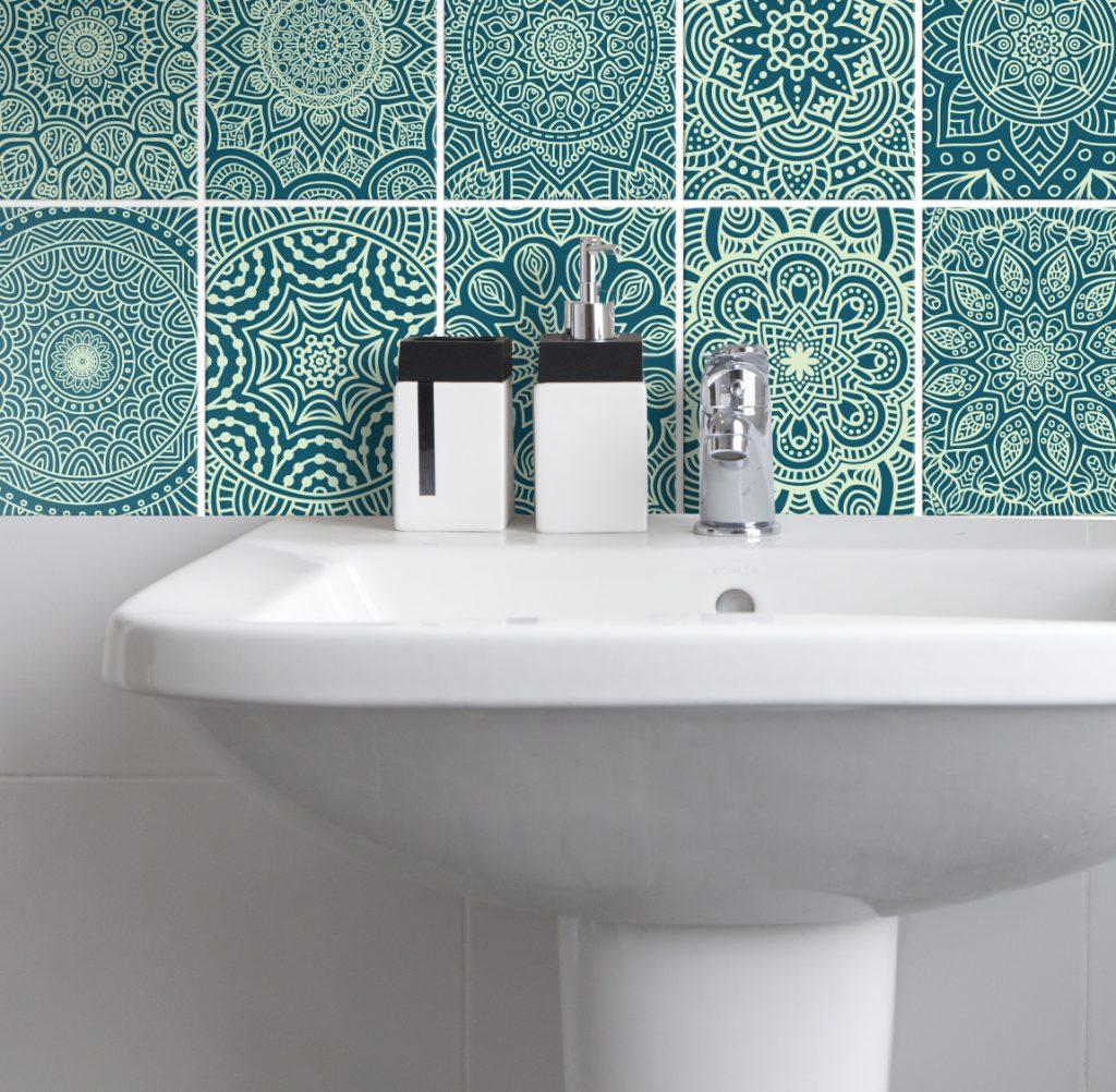 Fliesenaufkleber für Bad Deko u. Küche - Mandala Mintgrün Petrol