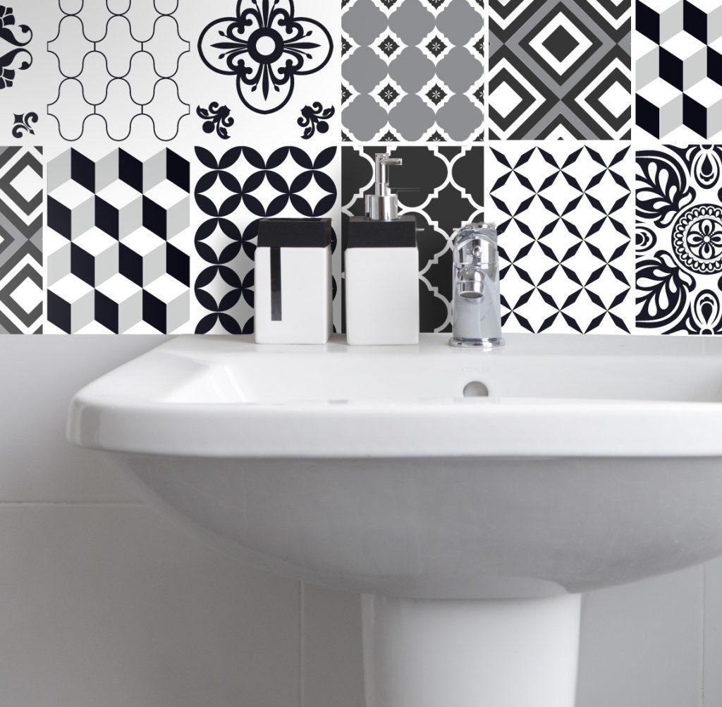 Fliesenaufkleber für Bad Deko u. Küche - Marokkanisch Schwarz Weiß