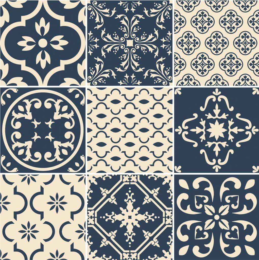 Fliesenaufkleber für Bad Deko u. Küche - Portugiesisch Blau Creme