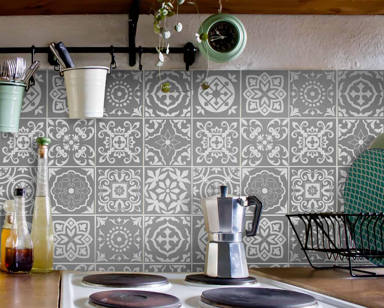 Fliesenaufkleber für Bad Deko u. Küche - Portugiesisch-Grau